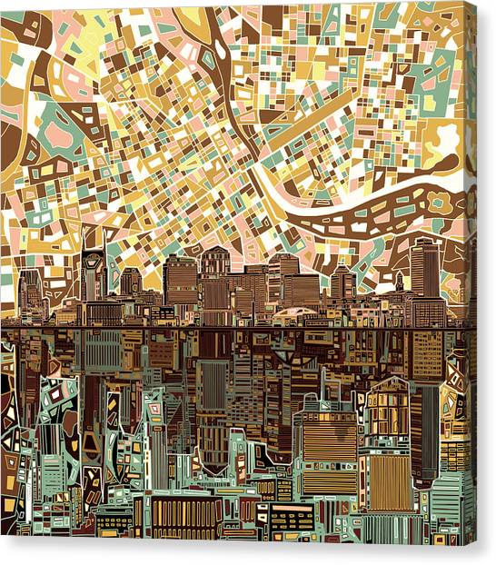 Nashville Skyline Canvas Print - Nashville Skyline Abstract 4 by Bekim Art