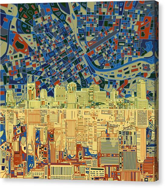 Nashville Skyline Canvas Print - Nashville Skyline Abstract 9 by Bekim Art