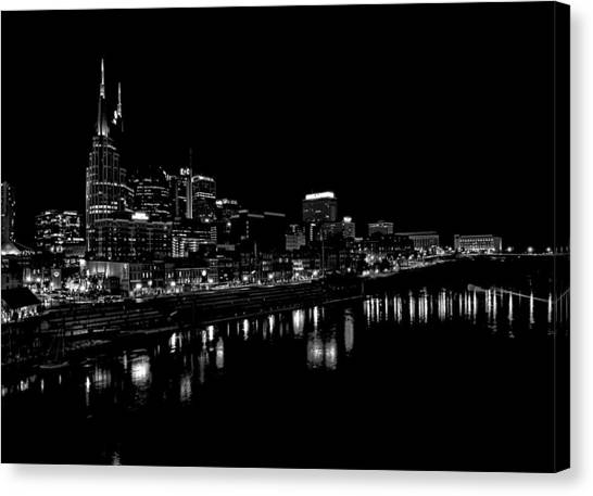 Nashville Skyline Canvas Print - Nashville Skyline At Night In Black And White by Dan Sproul