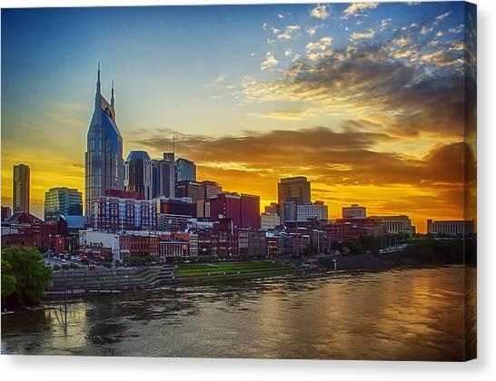 Nashville Skyline At Sunset Canvas Print by Dan Holland