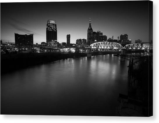 Nashville Skyline Black And White Canvas Print