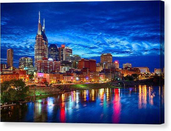Night Canvas Print - Nashville Skyline by Dan Holland
