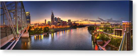 Tennessee Titans Canvas Print - Nashville Skyline Panorama by Brett Engle