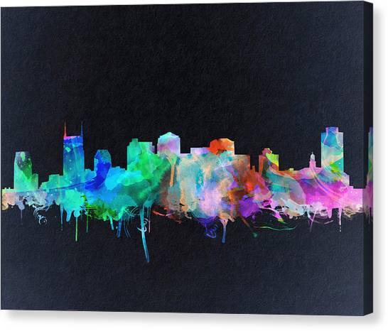 Nashville Skyline Canvas Print - Nashville Skyline Watercolor 10 by Bekim Art