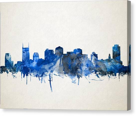Nashville Skyline Canvas Print - Nashville Skyline Watercolor 11 by Bekim Art