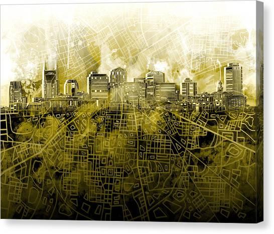 Nashville Skyline Canvas Print - Nashville Skyline Watercolor 4 by Bekim Art