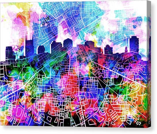 Nashville Skyline Canvas Print - Nashville Skyline Watercolor 5 by Bekim Art