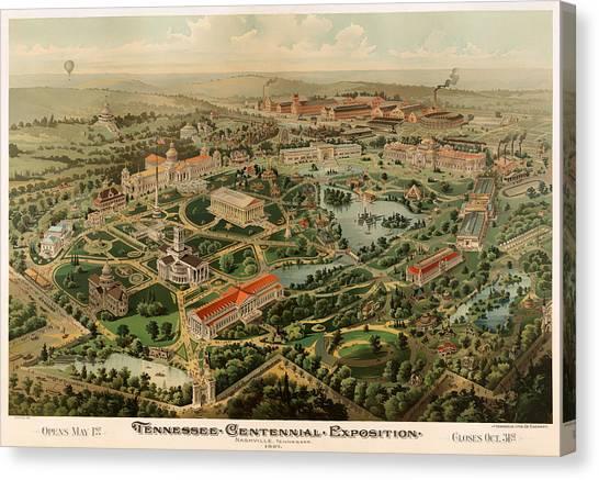 Centennial Canvas Print - Nashville Tennessee Centennial Exposition Map 1897 by Mountain Dreams