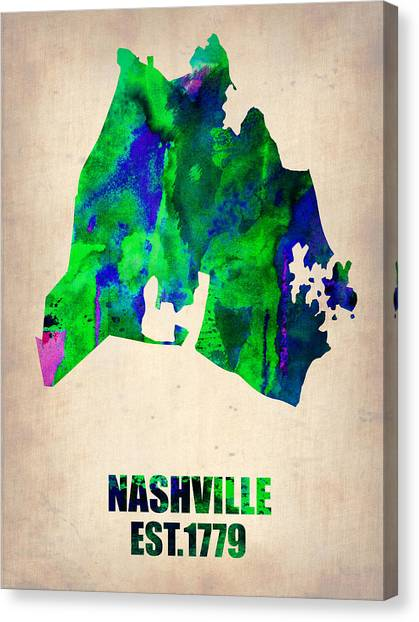 Nashville Canvas Print - Nashville Watercolor Map by Naxart Studio