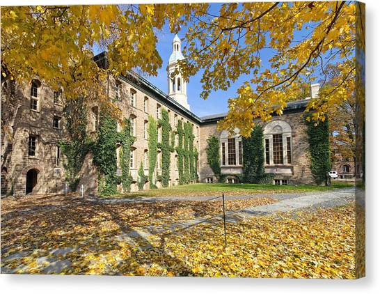 Princeton University Canvas Print - Nassau Hall With Fall Foliage by George Oze