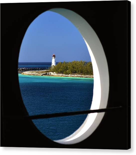 Nassau Lighthouse Porthole View Canvas Print by Bill Swartwout Photography