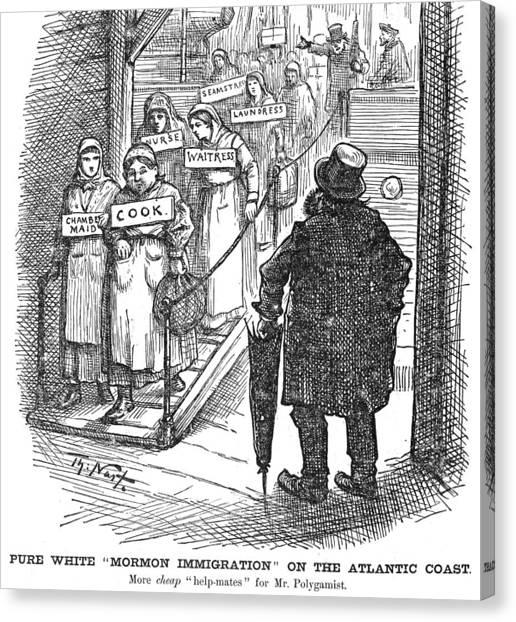 Anti Mormon Canvas Print - Nast Mormon Cartoon, 1882 by Granger