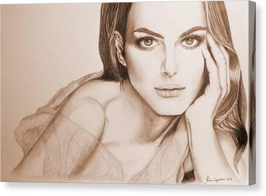 Natalie Portman Canvas Print by Kim Lagerhem