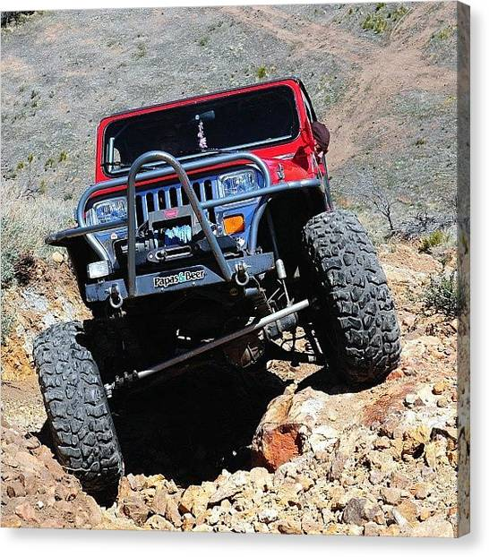 Offroading Canvas Print - @natas03 Jeep, #flexing #jeep by James Crawshaw