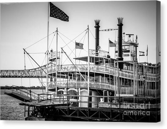 Mississippi River Canvas Print - Natchez Steamboat In New Orleans Black And White Picture by Paul Velgos