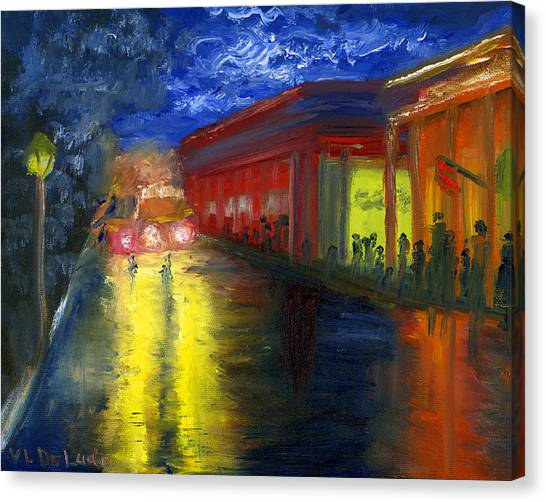 Natchitoches Louisiana Mardi Gras Parade At Night Canvas Print