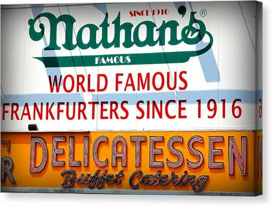 Hot Dogs Canvas Print - Nathan's Sign by Valentino Visentini