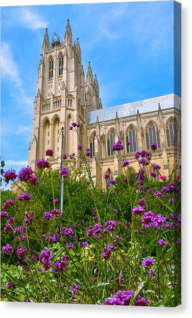 Washington Nationals Canvas Print - National Cathedral by Mitch Cat