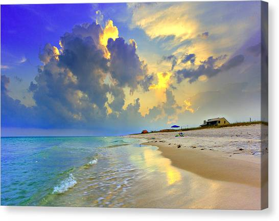 National Seashore Navarre Pensacola Beach Florida Blue Sunset Art Prints Canvas Print