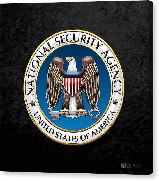Nsa Canvas Print - National Security Agency - N S A Emblem On Black Velvet by Serge Averbukh