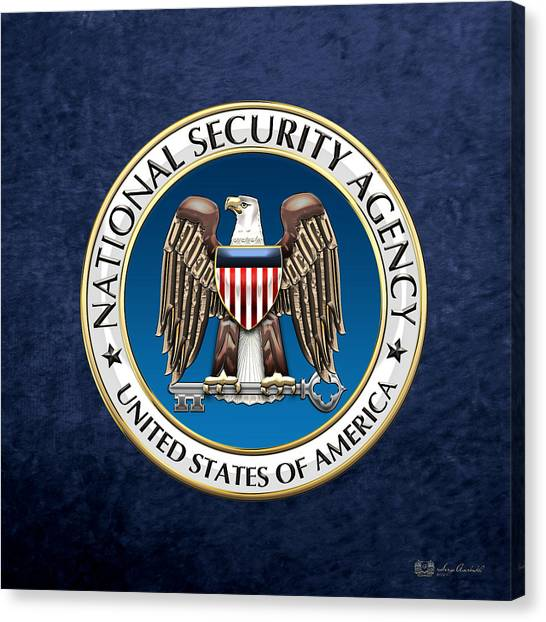 Nsa Canvas Print - National Security Agency - N S A Emblem On Blue Velvet by Serge Averbukh