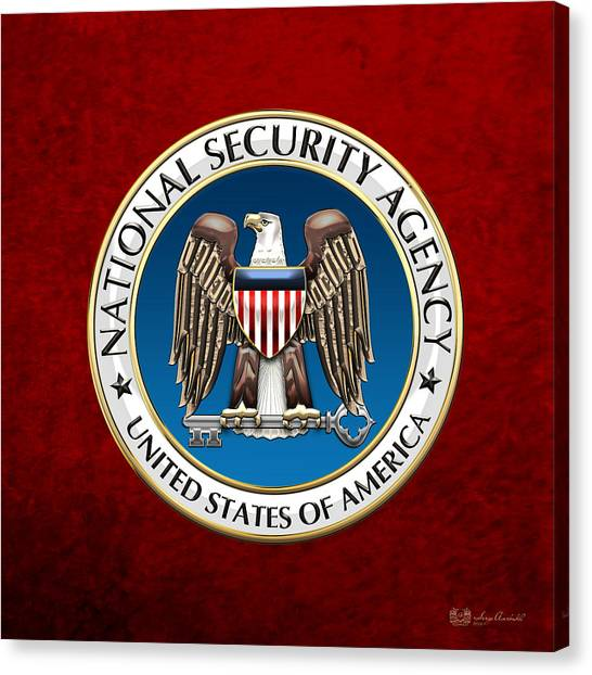 Nsa Canvas Print - National Security Agency - N S A Emblem On Red Velvet by Serge Averbukh