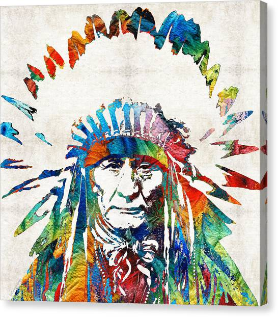 Motorcycle Canvas Print - Native American Art - Chief - By Sharon Cummings by Sharon Cummings
