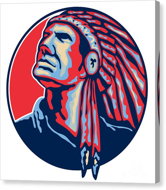 Native Americans Canvas Print - Native American Indian Chief Retro by Aloysius Patrimonio