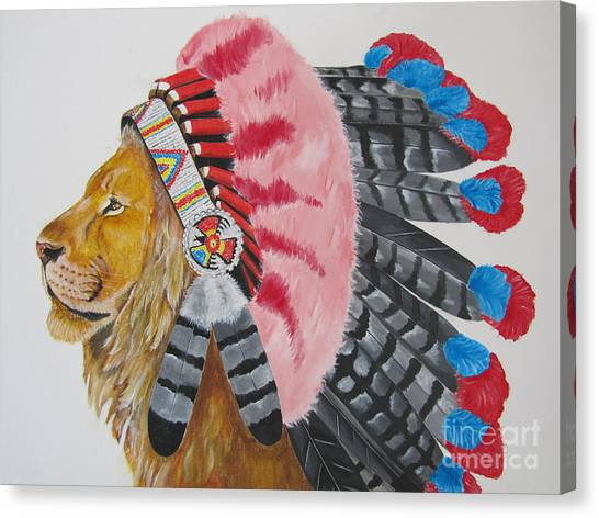 Native American Lion Canvas Print