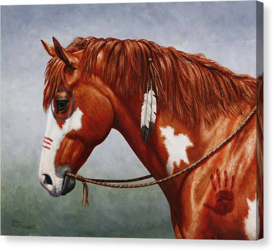 War Horse Canvas Print - Native American War Horse by Crista Forest