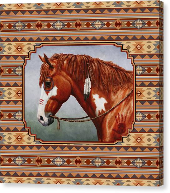 War Horse Canvas Print - Native American War Horse Southwestern Pillow by Crista Forest