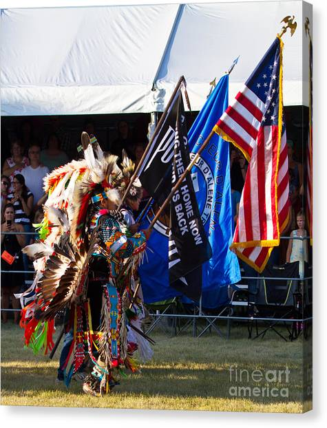 Native Flag Ceremony Canvas Print by Scarlett Images Photography