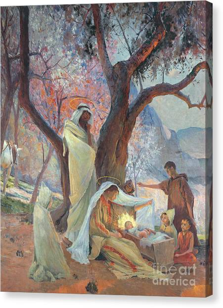 Holy Bible Canvas Print - Nativity by Frederic Montenard