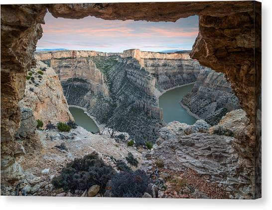 Natural Arch In Bighorn Canyon Canvas Print by Leland D Howard
