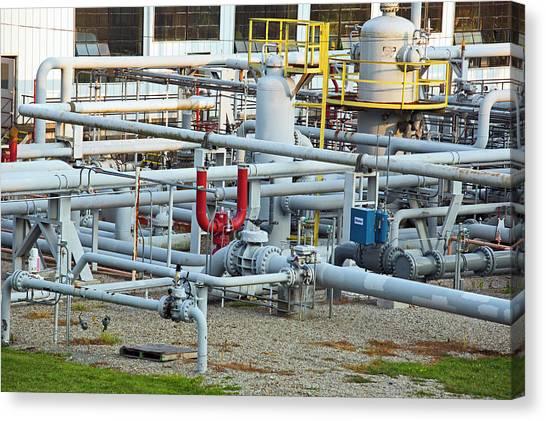 Fracking Canvas Print - Natural Gas Compressor Station by Jim West