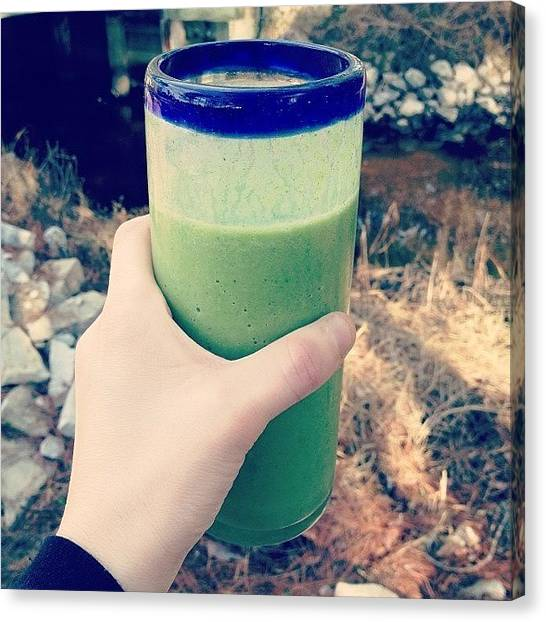 Smoothie Canvas Print - Nature + A Spinach/fruit Smoothie. Love by Brooklyn Cole