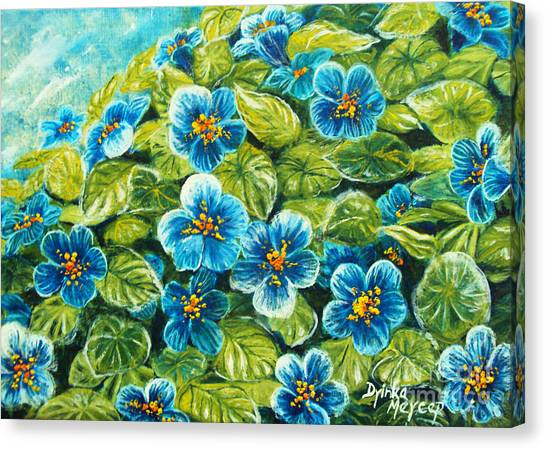 Nature Blue Flowers Original Painting Oil On Canvas Canvas Print by Drinka Mercep