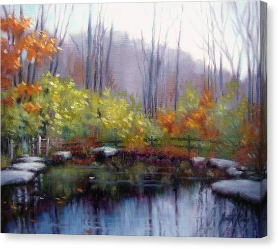 Warner Park Canvas Print - Nature Center Pond At Warner Park In Autumn by Janet King
