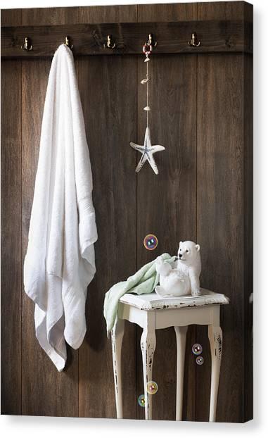 Flannel Canvas Print - Nautical Bathroom by Amanda Elwell