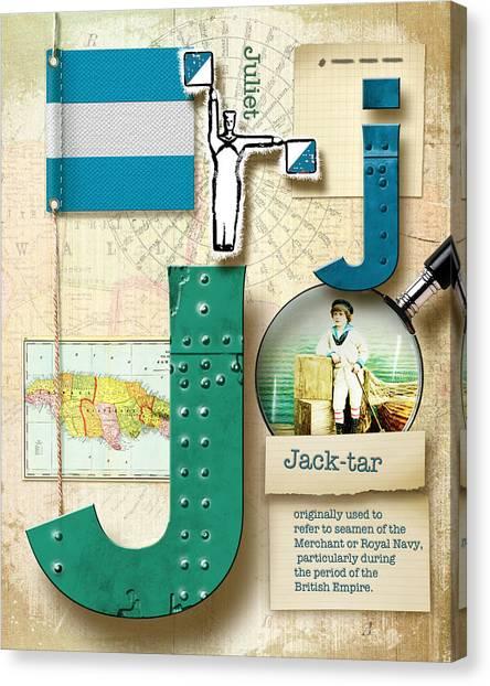 Nato Canvas Print - Navy Alphabet Nautical Letter J by Vanessa Bates