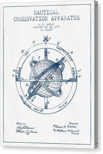 Ships Canvas Print - Nautical Observation Apparatus Patent From 1895  -  Blue Ink by Aged Pixel