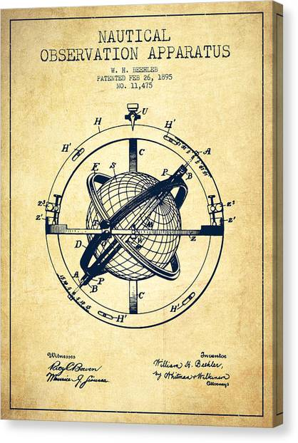 Ships Canvas Print - Nautical Observation Apparatus Patent From 1895 - Vintage by Aged Pixel
