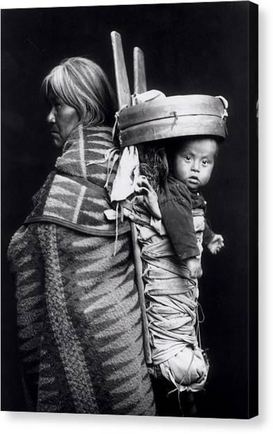 Backpacks Canvas Print - Navaho Woman Carrying A Papoose On Her Back by William J Carpenter