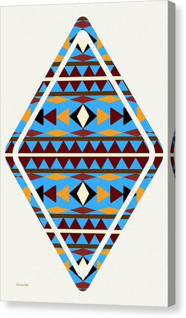 Navajo Blue Pattern Art Canvas Print