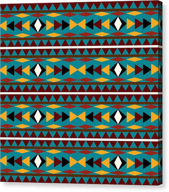 Pattern Canvas Print - Navajo Teal Pattern by Christina Rollo