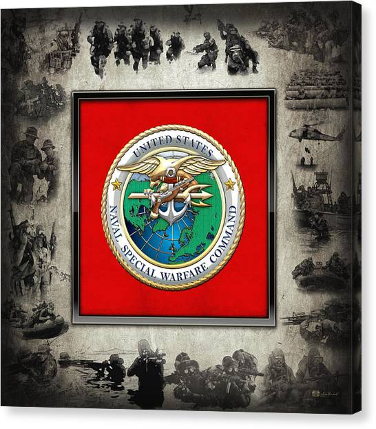 Naval Special Warfare Command - N S W C - Emblem  Over Navy Seals Collage Canvas Print