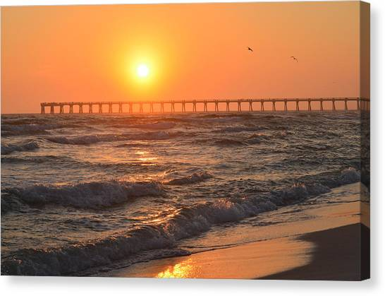 Navarre Beach And Pier Sunset Colors With Birds And Waves Canvas Print