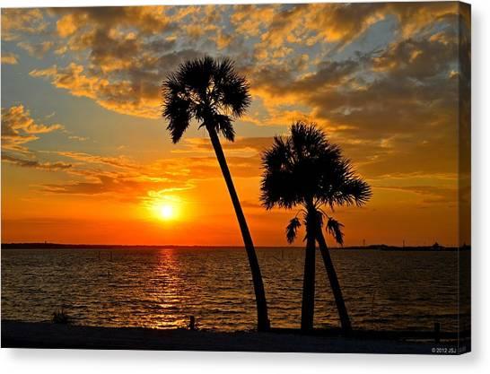 Navarre Beach Bridge Sunrise Palms Canvas Print