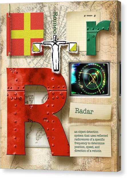 Nato Canvas Print - Navy Alphabet  Nautical Letter R by Vanessa Bates