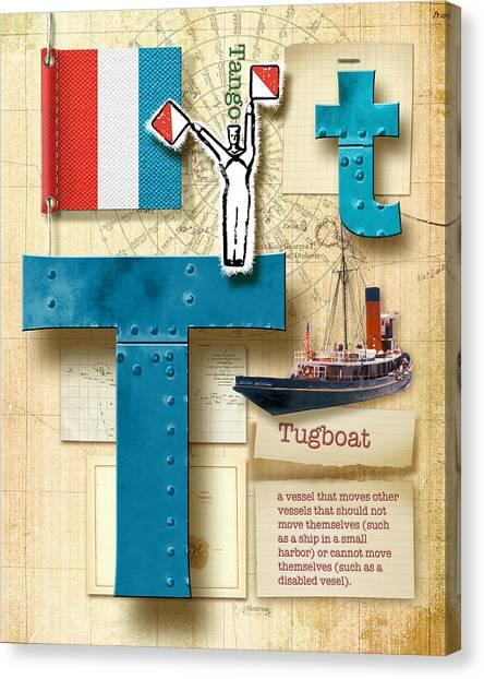 Nato Canvas Print - Navy Alphabet Nautical Letter T by Vanessa Bates
